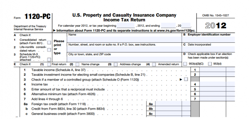 DCarsonCPA 1120 PC Insurance Tax Return: Property and Casualty