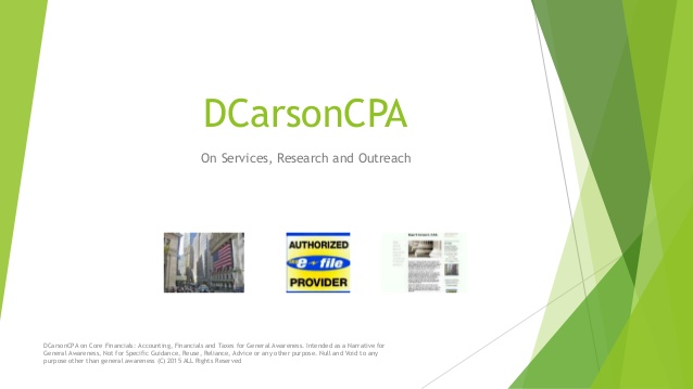 DCarsonCPA on CFO / Advisory Services